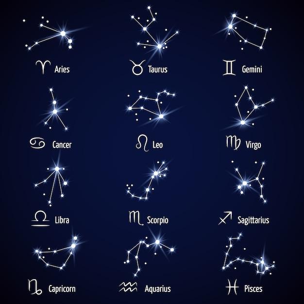 星座。占星術星座記号または黄道帯のアイコン Premiumベクター