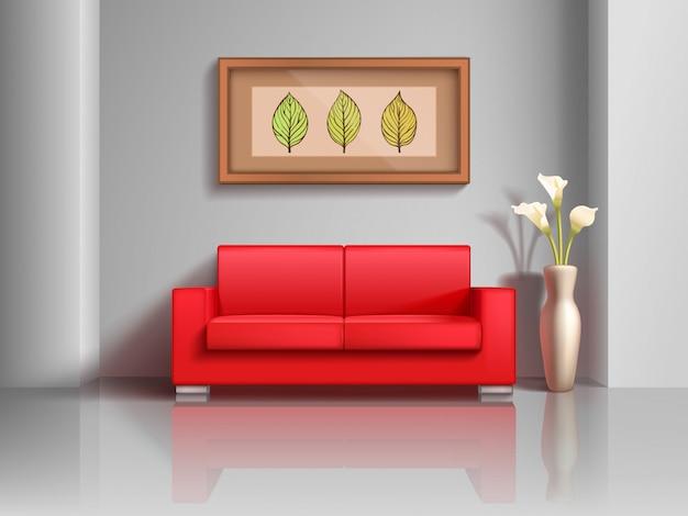 現実的な赤いソファとリビングルームのインテリアの植木鉢 Premiumベクター