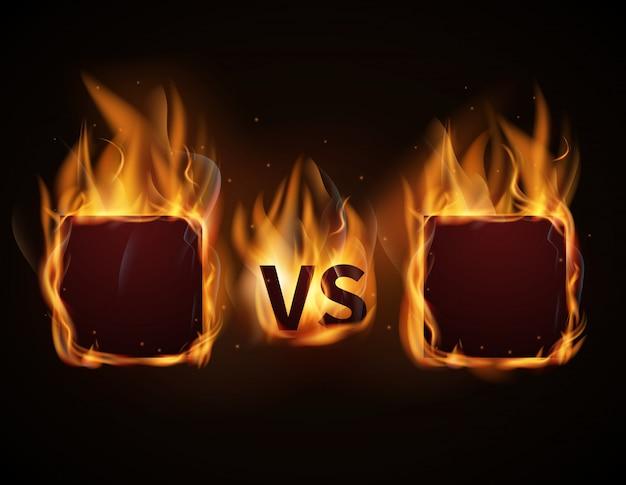 火のフレームと対文字の画面。 Premiumベクター