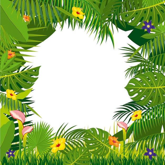 Джунгли фон с листьями пальмы Premium векторы