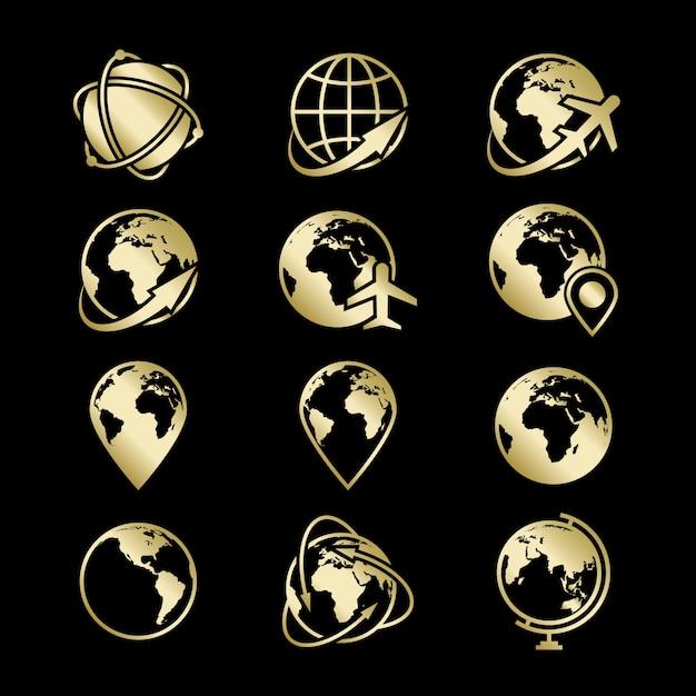 Коллекция икон золотой глобус земли на черном фоне Premium векторы
