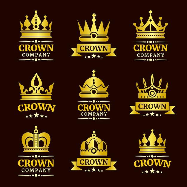Роскошная корона с логотипом Premium векторы