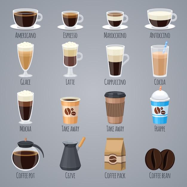 エスプレッソ、ラテ、グラスとマグカップのカプチーノ。コーヒーハウスメニューのコーヒーの種類。 Premiumベクター