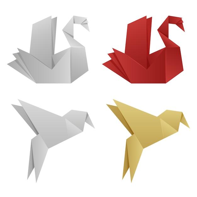 Векторные японские оригами птицы Premium векторы