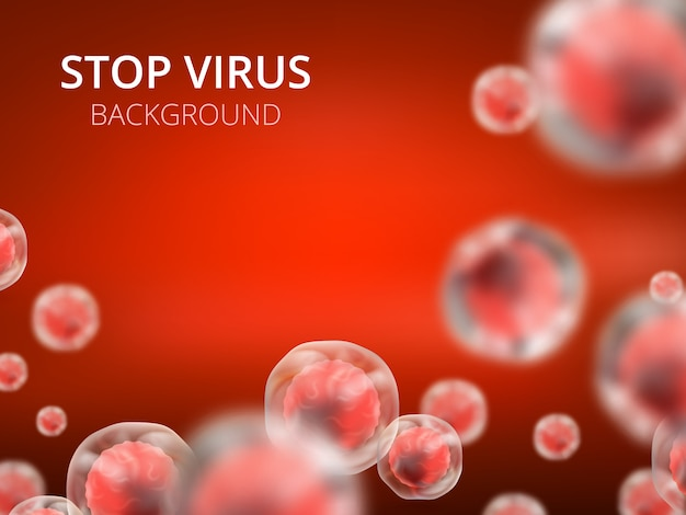 細胞とウイルスの抽象的なベクトル医療背景。生物学の医学の概念 Premiumベクター