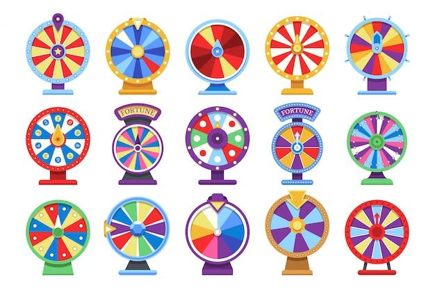 Фортуна колеса плоские иконки набор. Premium векторы