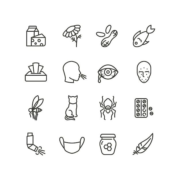 Аллергия и симптомы насморка линии иконы. аллергические и аллергенные наброски векторной медицины символы изолированы Premium векторы