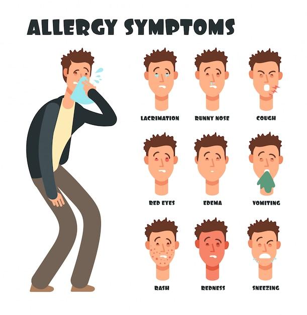 くしゃみ漫画男とアレルギー症状。医療のベクトル図 Premiumベクター