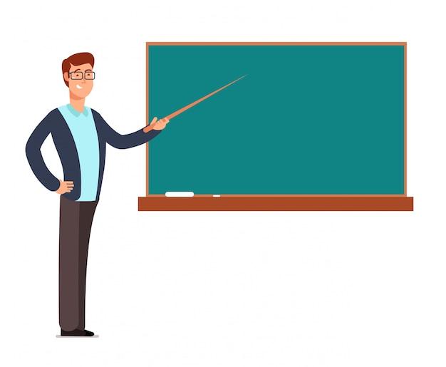 Мультяшный молодой профессор, учитель человек на доске, обучение детей в классе школы векторная иллюстрация Premium векторы