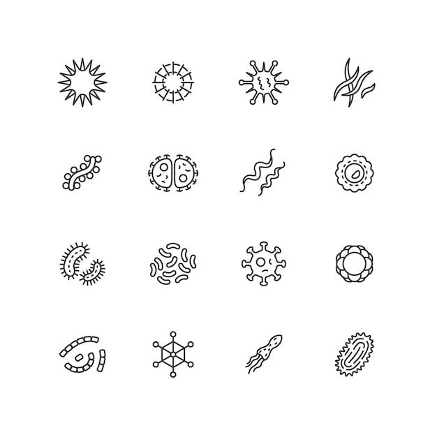 病気の菌、微生物、ウイルス、微生物の線アイコン。細菌学衛生と感染アウトラインベクトル分離 Premiumベクター