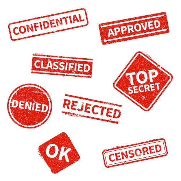 Совершенно секретно, отклонено, одобрено, засекречено, конфиденциально, запрещено и подвергнуто цензуре штампы красного гранж изолированы Premium векторы