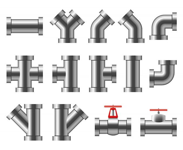 Серебряные трубы. алюминиевый и хромированный трубопровод. трубопроводная арматура, водопроводная труба векторный набор Premium векторы