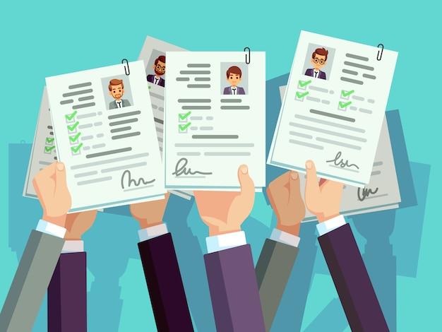 仕事の競争。候補者は履歴書を再開します。募集と人材のベクトル図 Premiumベクター