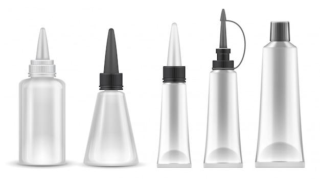 接着剤のパッキング。接着剤、練り歯磨き、化粧品用の現実的なチューブとボトル。分離ベクトルセット Premiumベクター