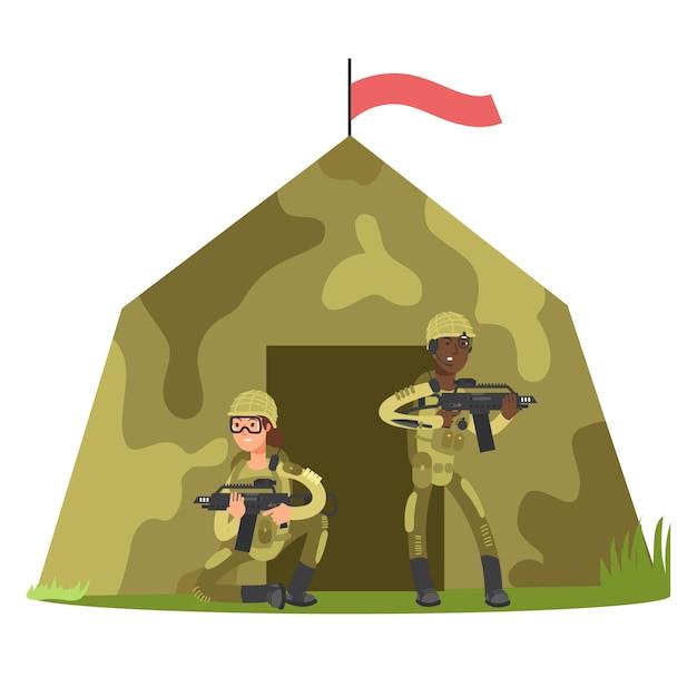 Мультипликационный персонаж солдат и военная палатка векторная иллюстрация Premium векторы