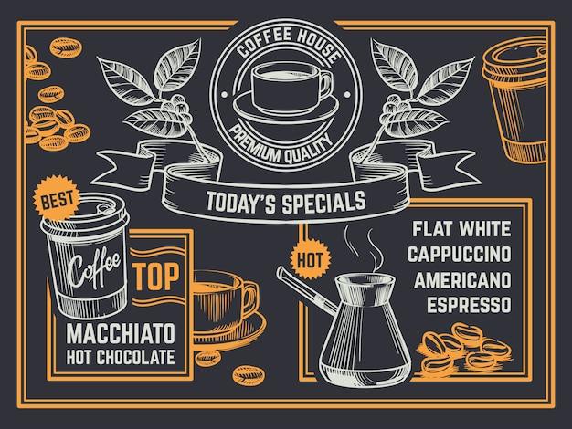 Кофейное меню. старинные рисованной кофешоп флаер. постер с капучино и горячим шоколадом Premium векторы
