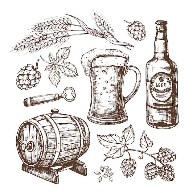 Нарисованная рукой пивная кружка, бочка, колосья пшеницы и солода, хмель. изолированный набор в стиле гравюры Premium векторы