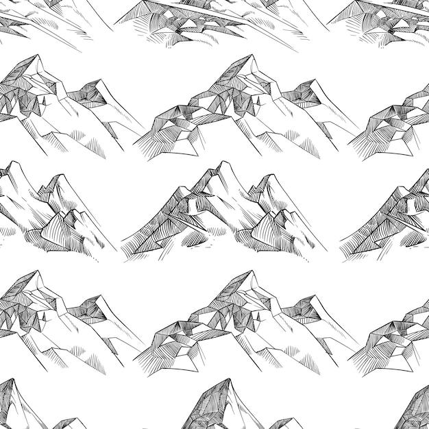 鉛筆スケッチ山シームレスパターン Premiumベクター