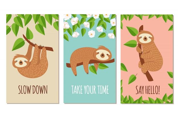 Ленивый ленивец. симпатичные дремлющие ленивцы на ветке. детский дизайн футболки или открытки Premium векторы