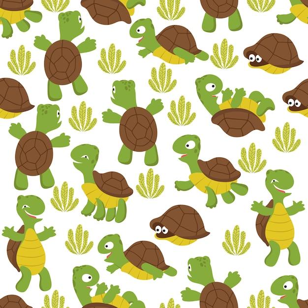 Черепаха бесшовные модели. текстура дикой милой черепахи с принтом для текстиля для детей Premium векторы