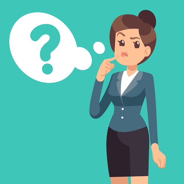 Путать предприниматель. думая девушка и облако с вопросительным знаком. бизнес Premium векторы