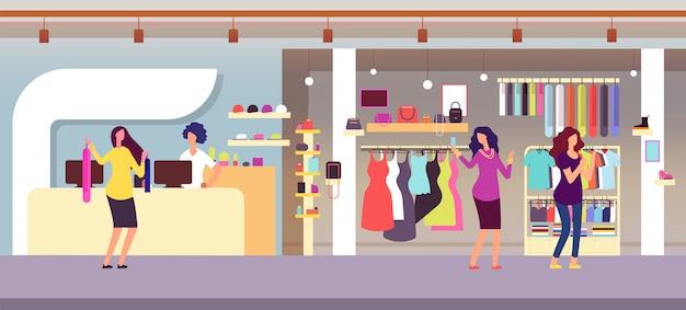 ファッションショップ。女性の服とアクセサリーのあるブティックでショッピングする女性。衣料品店のインテリアフラットイラスト Premiumベクター