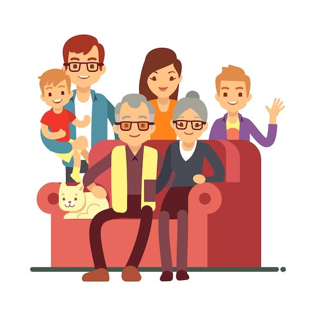 Семья стиля шаржа изолированная на белизне. день бабушки и дедушки счастливая пожилая пара с внуками Premium векторы