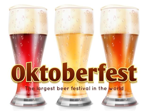Реалистичные очки пива иллюстрации. шаблон баннера октоберфест Premium векторы