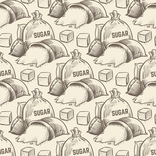 セピア色の手描きの砂糖 Premiumベクター
