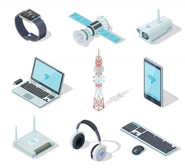 Электронные устройства. изометрические беспроводные гаджеты. Premium векторы