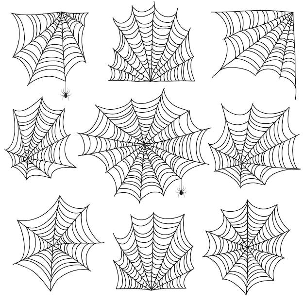 Паутина. жуткая паутина и паутина с пауком. хэллоуин иконки на белом Premium векторы