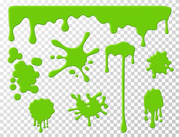 Капающая слизь. зеленая слизь капает жидкие сопли, пятна и брызги. Premium векторы