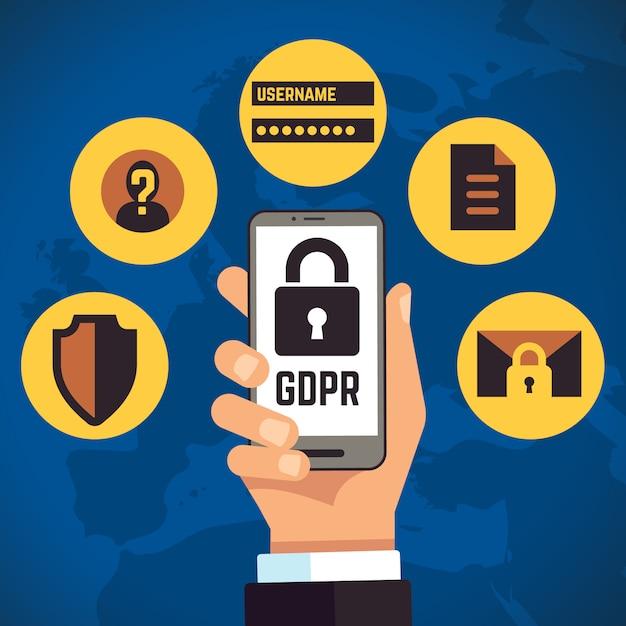 一般的なデータ保護規制インターネットアイデンティティヨーロッパのビジネスコンセプト Premiumベクター