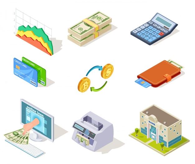 インターネットバンキング、お金と小切手帳、ローンと現金通貨、クレジットカードビジネス金融シンボル Premiumベクター