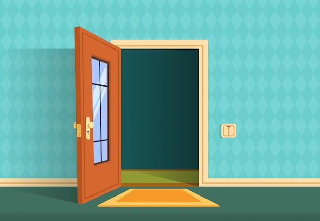 Мультфильм открытая дверь. квартира прихожая, офис лобби. Premium векторы