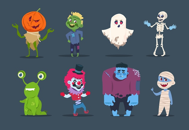 Хэллоуин персонажи. милые монстры и дети одеваются в костюмы хэллоуина. Premium векторы