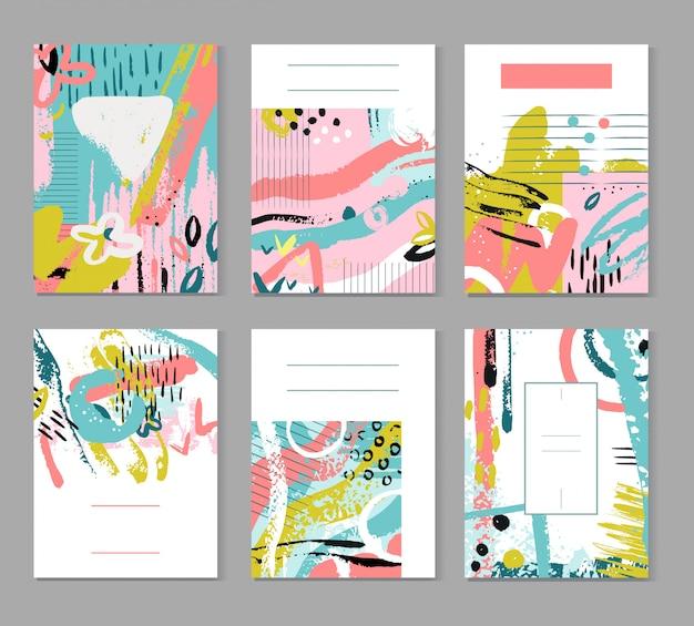 抽象的なスケッチと絵画のパターン。現代のファッションテクスチャ。夏の装飾ポスター Premiumベクター