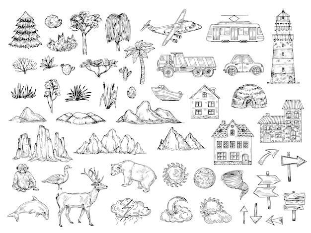 手描きのマップ要素。丘の山の木と茂みの建物と雲をスケッチします。地図作成のためのビンテージ彫刻記号 Premiumベクター