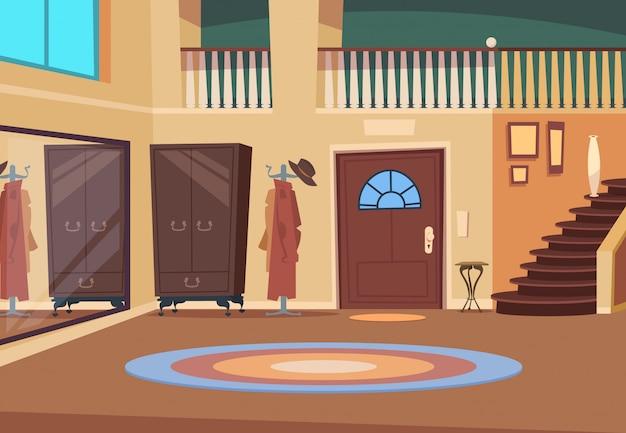 レトロな廊下。階段と玄関のドア木製ハンガーと靴の部屋と漫画の廊下のインテリア。屋内の家の背景 Premiumベクター