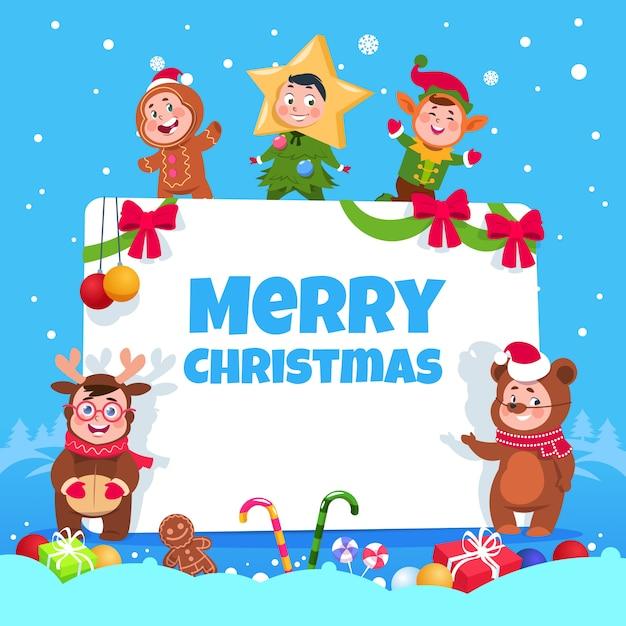 Веселая рождественская открытка. дети в рождественских костюмах танцуют на детском зимнем празднике. плакат Premium векторы