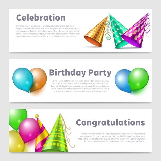 パーティーバナーテンプレート現実的なパーティーハット Premiumベクター