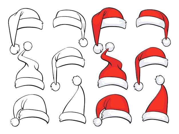 Санта красные шапки с наброском из белого меха Premium векторы