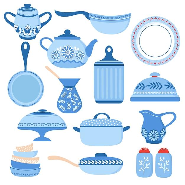 漫画の調理器具。キッチン食器類とガラス製品。カップとティーポットを料理します。調理器具分離セット Premiumベクター