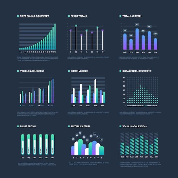 インフォグラフィック要素。データ視覚化は、ビジネスワークフロープロセスをグラフ化します。プレゼンテーションのチャートと図。グラフィックス Premiumベクター