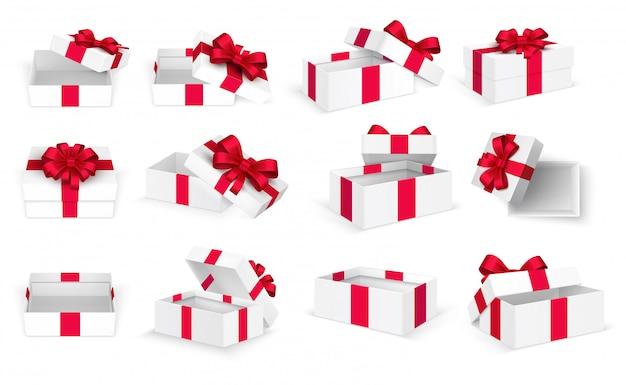 Подарочные коробки белый открытый настоящее пустое поле с красным бантом и лентами. шаблон рождество и день святого валентина Premium векторы