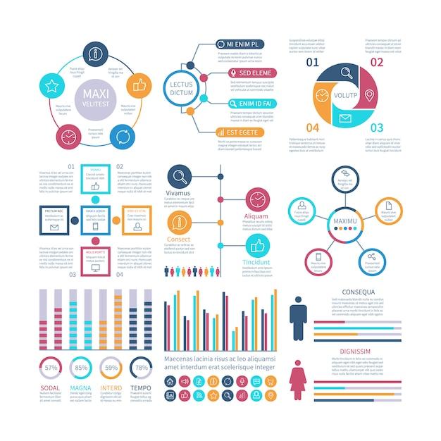 インフォグラフィック要素モダンなインフォチャート、マーケティングチャートおよびグラフ、バー図インターネットレポートセットのオプションプロセスグラフ Premiumベクター