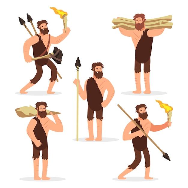 Набор персонажей мультфильма каменного века первобытных мужчин Premium векторы