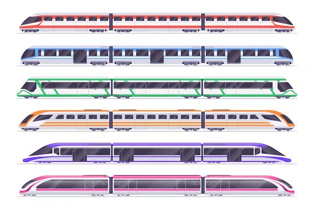 Пассажирские поезда. современное метро и железнодорожный поезд. Premium векторы