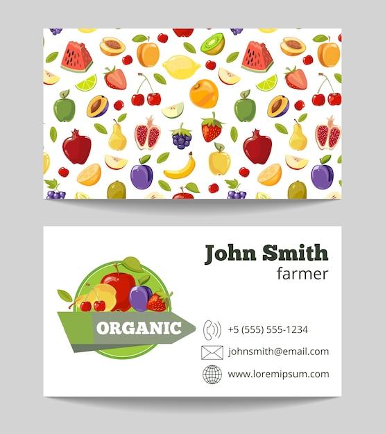 オーガニックフルーツ農家の名刺テンプレート Premiumベクター