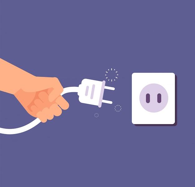 Отключен штекер. подключение или отключение электричества с помощью проводной вилки и розетки. Premium векторы
